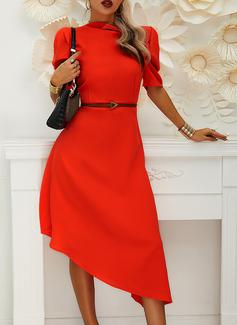 Solid A-linjeklänning Puffärmar Korta ärmar Midi Elegant skater Modeklänningar