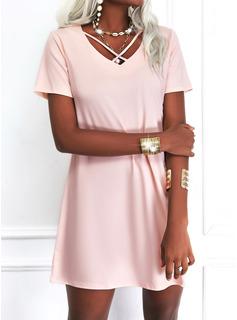Solid Shift Short Sleeves Mini Casual Elegant Tunic Dresses