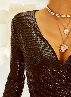 Sequins Solid Sheath Long Sleeves Mini Little Black Party Elegant Wrap Dresses