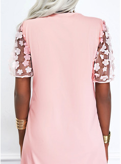 Floral Solid Shift Short Sleeves Mini Casual Tunic Dresses