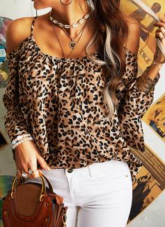 leopardo Spalle esposte Flare Sleeve Maniche lunghe Casuale