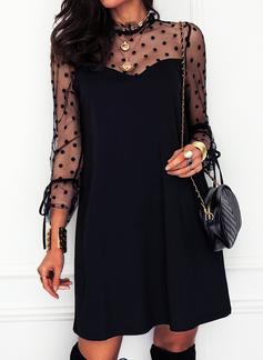 A pois Solido Abiti dritti Maniche lunghe Mini Piccolo nero Elegante Tunica Vestiti di moda