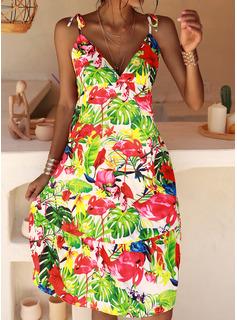 Floral Impresión Vestido línea A Sin mangas Midi Casual Vacaciones Patinador Tipo Vestidos de moda