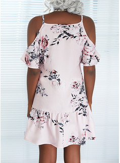 Floral Impresión Vestidos sueltos Mangas 1/2 Mini Casual Túnica Vestidos de moda