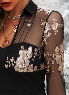 Floral Print Bodycon Long Sleeves Mini Elegant Dresses