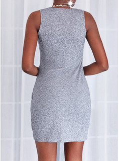 Solid Bodycon Sleeveless Mini Elegant Dresses
