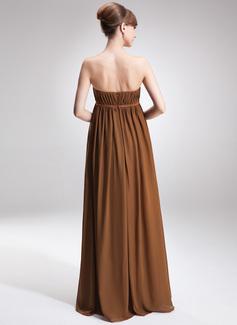 Império Sem Alças Longos Tecido de seda Vestido para madrinha grávida com Pregueado
