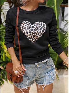 leopardo Girocollo Maniche lunghe Casuale Reggiseno Tshirt