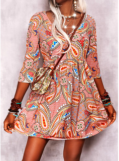Druck Etuikleider 3/4 Ärmel Mini Boho Lässige Kleidung Modekleider