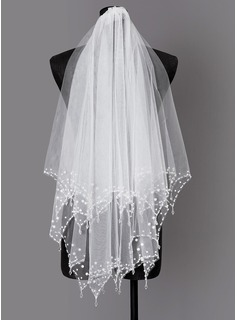 Two-tier Beaded Edge Elbow Bridal Veils With Faux Pearl
