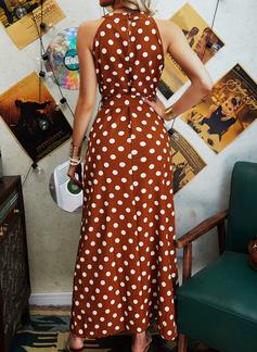 Cu Bulină Bir Çizgi Kolsuz Maxi gündelik Patenci Moda Elbiseler