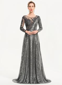 Aライン スクープネック スウィープ・トレーン Sequined イブニングドレス
