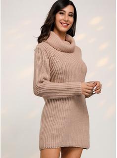 Acanalado Punto grueso Sólido poliéster Cuello de Escote Vestidos De Suéter Suéteres