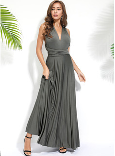 Solid A-line Sleeveless Maxi Party Sexy Skater Dresses
