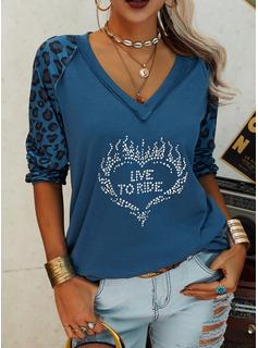 Leopard Figur Pailletten Herz V-Ausschnitt Lange Ärmel Lässige Kleidung T-shirt