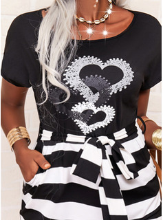 Impresión raya Corazón Ajustado Manga Corta Midi Casual Vestidos de moda