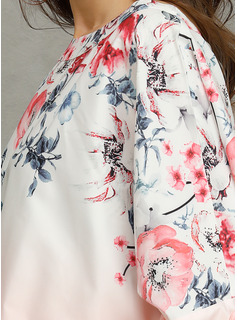 Floral Manga larga Algodón Cuello redondo Blusas