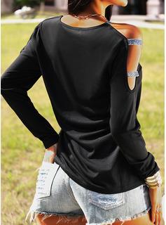 Paillettes Spalle esposte Maniche lunghe Casuale Camicie