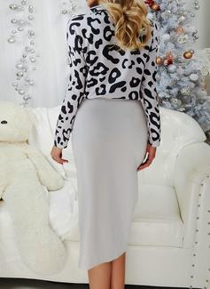 Leopardo Bodycon Manga Comprida Midi Casual Vestidos na Moda