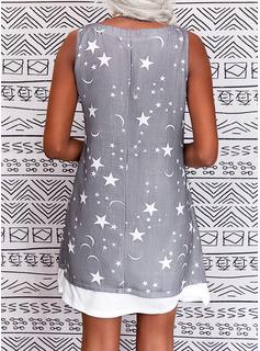 Druck Etuikleider Ärmellos Midi Lässige Kleidung Trägerhemd Modekleider