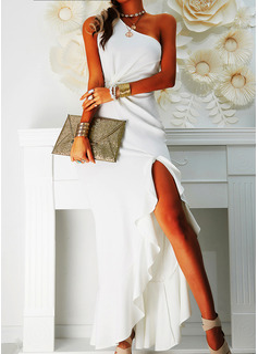 Solid One Shoulder Sleeveless Sheath Maxi Dresses