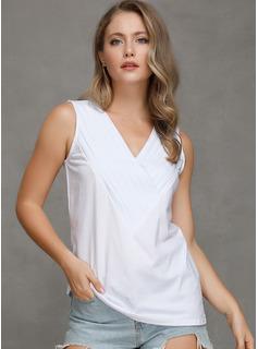 Sólido Sin mangas mezcla de algodón Escote en V Camisetas sin mangas Blusas
