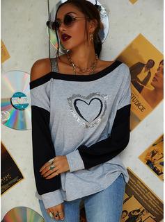 Stampa Paillettes Una spalla Maniche lunghe Casuale Camicie