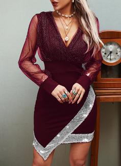 Pailletten Einfarbig Etui Lange Ärmel Mini Party Lässige Kleidung Modekleider