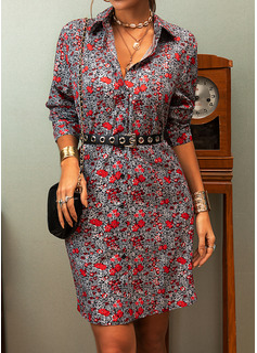 Blumen Druck A-Linien-Kleid Lange Ärmel Mini Lässige Kleidung Skater Modekleider