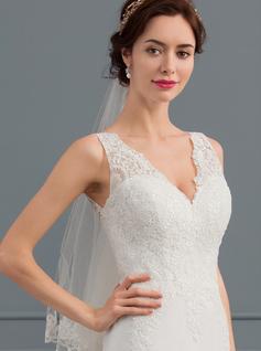 Forme Sirène/Trompette Col V Traîne moyenne Mousseline Robe de mariée