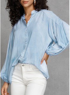 Solido Scollatura a V Maniche lunghe Bottone Casuale Shirt and Blouses
