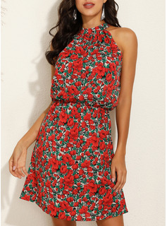 Blomster Print Kjole med A-linje Ærmeløs Mini Casual Ferie skater Mode kjoler