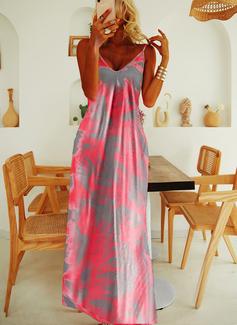 Druck A-Linien-Kleid Ärmellos Maxi Lässige Kleidung Urlaub Typ Modekleider