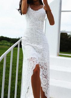 Lace Solid Spaghetti Straps Sleeveless Maxi Dresses