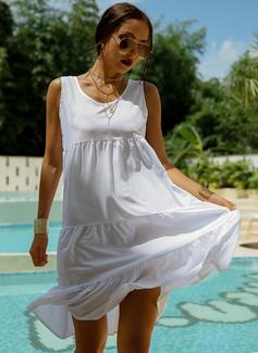 Knee Length U Neck Polyester Solid Sleeveless Fashion Dresses