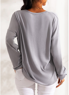 Pailletten V-Ausschnitt Lange Ärmel Lässige Kleidung Weihnachten T-shirt