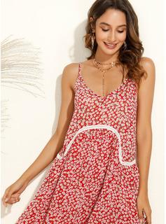 印刷 シフトドレス ノースリーブ ミニ 生きます カジュアル 休暇 タイプ ファッションドレス