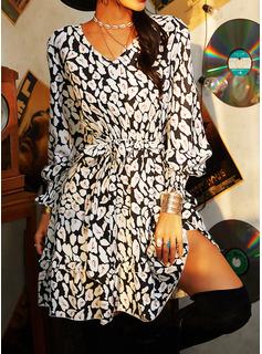 Print Kjole med A-linje Lange ærmer Mini Casual skater Mode kjoler
