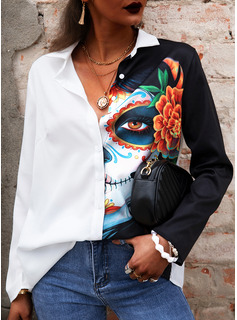 Floral Print Lapel Long Sleeves Halloween Button Up Casual Shirt Blouses