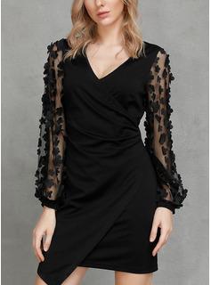 固体 ボディコンドレス 長袖 ミニ リトルブラックドレス カジュアル エレガント ファッションドレス