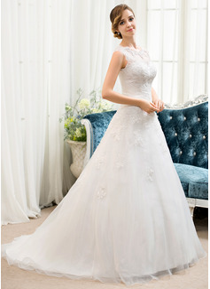 Robe Marquise/Princesse Illusion Balayage/Pinceau train Organza Tulle Robe de mariée avec Brodé Paillettes