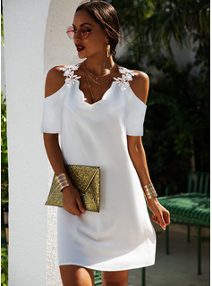 Solid Shift Short Sleeves Mini Elegant Tunic Dresses