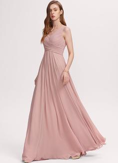 V-hals Støvet rose Chiffon Mode kjoler