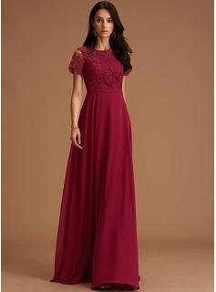 A-Linien-Kleid U-Ausschnitt Chiffon Chiffon Modekleider mit Spitze
