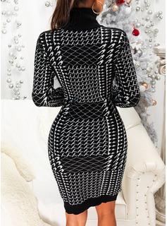 Stampa Aderente Maniche lunghe Mini Elegante Vestiti di moda