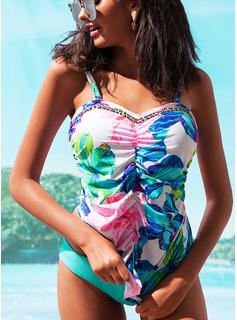 Tankini Poliester Spandex Kwiatowy Dla kobiet Elegancki Stroje kąpielowe