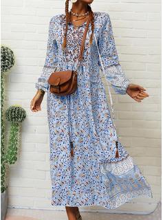 Estampado Vestidos soltos Manga Comprida Maxi Boho Casual férias Vestidos na Moda