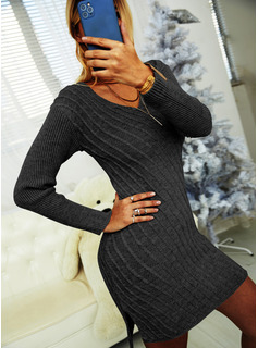 V-Neck Casual Long Tight Solid Cable-knit Sweaters