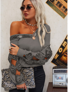 Vネック カジュアル スパンコール 固体 セーター