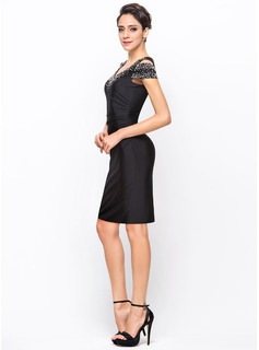 Sheath/Column Off-the-Shoulder Knee-Length Jersey Cocktail Dress With Beading Sequins